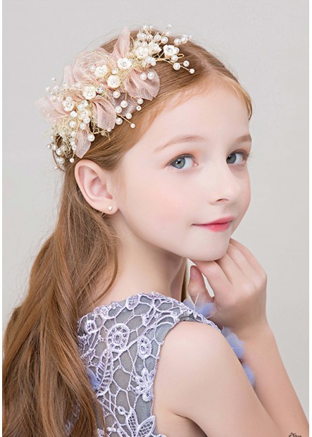 Eye-Catching Pearl Flower Girl Tiaras Headbands T901556677200