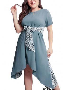 Blue Leopard Splicing Tied Short Sleeve Casual Plus Size Dress T901554190045