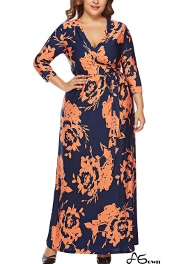 Floral Print V Neck Wrap Tied Casual Maxi Plus Size Dress T901553763452