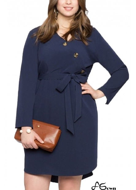 Dark-blue Long Sleeve Tied V Neck Casual Plus Size Dress T901554370484