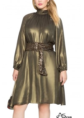 Gold Mock Neck Long Sleeve Tied A Line Casual Plus Size Dress T901554362150