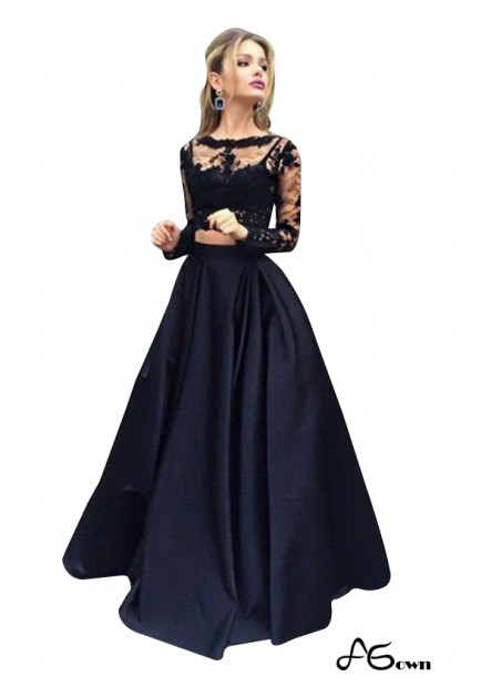 agown Lace Black Long Prom Evening Dress T801524703566