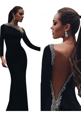 agown Black Mermaid Long Evening Dress T801524703948