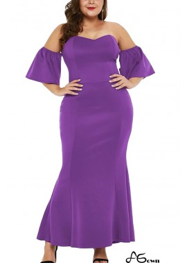 Off Shoulder Short Sleeve Ruffles Sexy Plus Size Bodycon Dress T901554191982