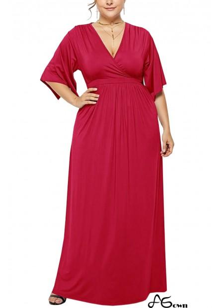 V Neck Wrap Slit Sleeve Casual Maxi Plus Size Dress T901553851585