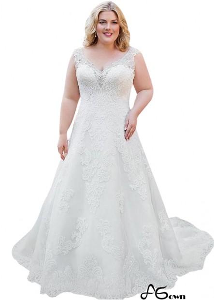 Agown Lace Plus Size Wedding Dress T801525387650