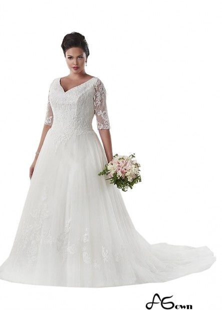 Agown Vintage Plus Size Wedding Dress With Sleeves