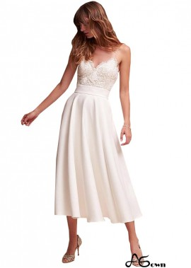 agown Casual Simple Beach Short Cheap Tea Length Wedding Dresses