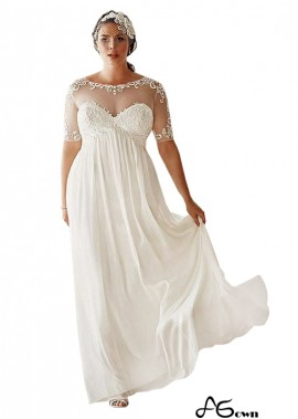 agown Simple Plus Size Wedding Dress