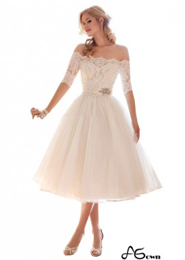 agown Lace Beach Short Wedding Dresses With Sleeves